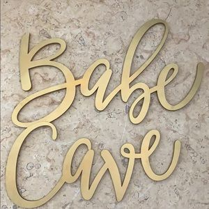 Babe Cave Gold Wood Laser Cut Sign